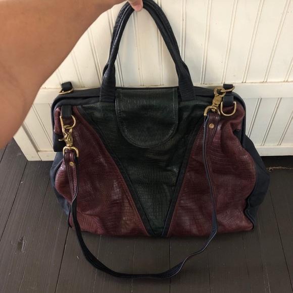 Vintage leather patchwork weekender satchel
